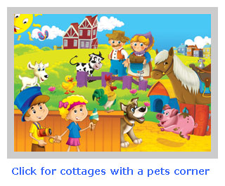 holiday cottages with a pets corner and animals to feed